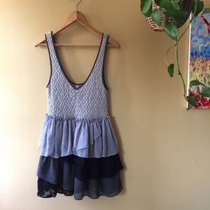 Free People mini dress tunic length layered top L